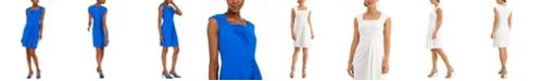 Calvin Klein Square-Neck Draped Sheath Dress