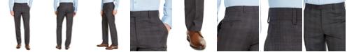 Michael Kors Men's Classic-Fit Airsoft Stretch Charcoal Plaid Suit Pants