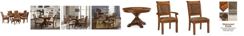 Furniture Closeout! Mandara Round Expandable Furniture, 7-Pc. Set (Round Dining Trestle Table, 4 Side Chairs & 2 Arm Chairs)