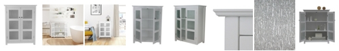 Elegant Home Fashions Connor Floor Cabinet with 2 Glass Doors