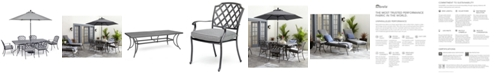 """Furniture Grove Hill II Outdoor Cast Aluminum 7-Pc. Dining Set (84"""" X 42"""" Table & 6 Dining Chairs) With Sunbrella® Cushions, Created For Macy's"""