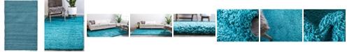 Bridgeport Home Exact Shag Exs1 Deep Aqua Blue 5' x 8' Area Rug