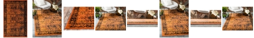 Bridgeport Home Linport Lin1 Terracotta/Black 5' x 8' Area Rug