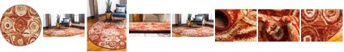 "Bridgeport Home Jasia Jas02 Terracotta 3' 3"" x 3' 3"" Round Area Rug"