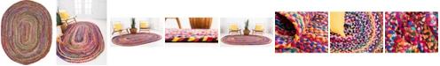 Bridgeport Home Roari Cotton Braids Rcb1 Multi 8' x 10' Oval Area Rug