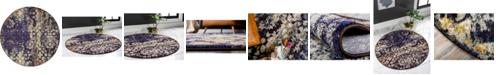 Bridgeport Home Brio Bri1 Navy Blue 4' x 4' Round Area Rug