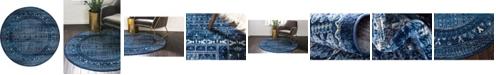 Bridgeport Home Borough Bor4 Blue 5' x 5' Round Area Rug