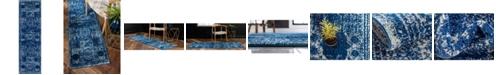 "Bridgeport Home Mobley Mob2 Navy Blue 2' x 6' 7"" Runner Area Rug"