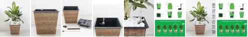 VIFAH Hatteras Thin Square Wicker Smart Self-Watering Planter