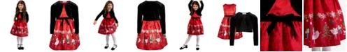 Bonnie Jean Toddler Girls 2-Pc. Velvet Cardigan & Nutcracker Dress