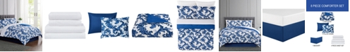 Pem America Blue Scroll 6-Pc. Twin Comforter Set, Created For Macy's