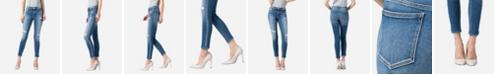 VERVET Women's Mid Rise Distressed Vintage-Like Wash Skinny Ankle Jeans