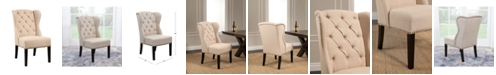Abbyson Living Audrey Tufted Linen Wingback Dining Chair