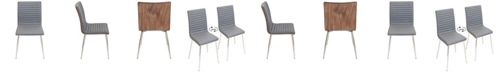 Lumisource Mason Chair with Swivel in Stainless Steel and Faux Leather Set of 2