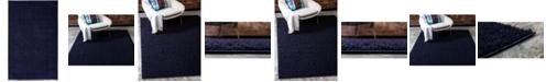Bridgeport Home Salon Solid Shag Sss1 Midnight Blue 5' x 8' Area Rug