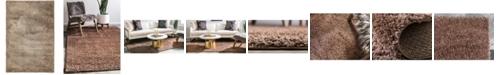 Bridgeport Home Salon Solid Shag Sss1 Brown 4' x 6' Area Rug
