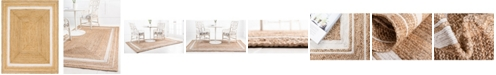 Bridgeport Home Braided Border Brb1 Natural/White 8' x 10' Area Rug