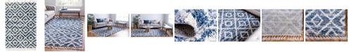Bridgeport Home Lochcort Shag Loc2 Blue 4' x 6' Area Rug