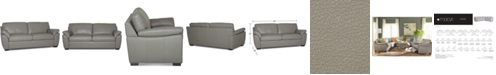 "Furniture Lothan 82"" Leather Apartment Sofa with 2 Cushions, Created for Macy's"