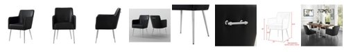 INSPIRED HOME Christine Arm Dining Chair with Metal Legs and Knob Set of 2