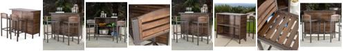 Noble House Marlen Outdoor 3-Piece Bar Set