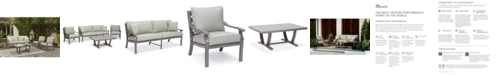 Furniture Tara Aluminum Outdoor 4-Pc. Seating Set (1 Sofa, 2 Club Chairs & 1 Coffee Table), with Sunbrella® Cushions, Created for Macy's
