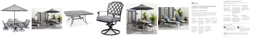 "Furniture Grove Hill II Outdoor Cast Aluminum 9-Pc. Dining Set (64"" X 64"" Square Table & 8 Swivel Chairs) With Sunbrella® Cushions, Created for Macy's"