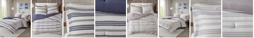 JLA Home Urban Habitat Cole Full/Queen Stripe Print Ultra Soft Cotton Blend Jersey Knit 3 Piece Comforter Set