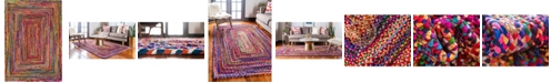 Bridgeport Home Roari Cotton Braids Rcb1 Multi 7' x 10' Area Rug