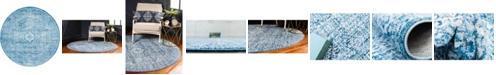 Bayshore Home Bridgeport Home Zilla Zil3 Navy Blue 6' x 6' Round Area Rug