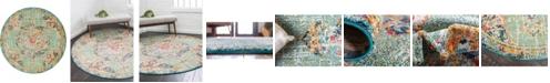 Bridgeport Home Lorem Lor1 Green 6' x 6' Round Area Rug