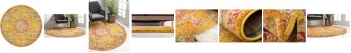 Bridgeport Home Lorem Lor1 Gold 6' x 6' Round Area Rug