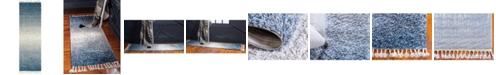 """Bridgeport Home Lochcort Shag Loc5 Blue 2' 7"""" x 8' 2"""" Runner Area Rug"""
