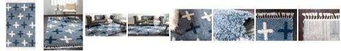 Bridgeport Home Lochcort Shag Loc7 Blue 4' x 6' Area Rug