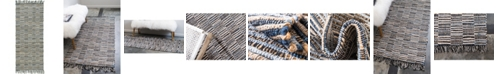 "Bridgeport Home Jari Checkered Jar3 Blue 2' 6"" x 6' Runner Area Rug"