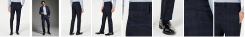 Calvin Klein Men's X Slim-Fit Stretch Navy Plaid Suit Separate Pants