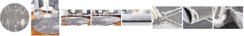 Jill Zarin Carnegie Hill Uptown Jzu006 Gray 8' x 8' Round Rug
