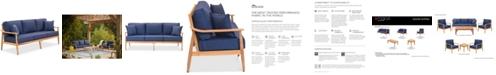 Furniture Savona Teak Outdoor Sofa with Sunbrella® Cushions