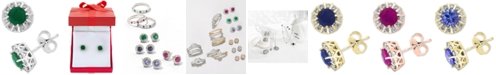 EFFY Collection Amoré by EFFY® Emerald (9/10 ct. t.w.) & Diamond (1/3 ct. t.w.) Stud Earrings in 14k White Gold (Also available in Ruby, Sapphire & Tanzanite)