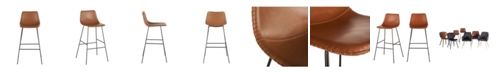 World Interiors Hudson Faux Camel Leather Bar Chairs, Set of 2