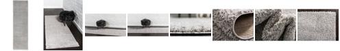 "Bridgeport Home Salon Solid Shag Sss1 Light Gray 2' x 6' 7"" Runner Area Rug"