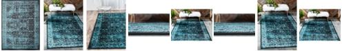 "Bridgeport Home Linport Lin1 Turquoise/Black 13' x 19' 8"" Area Rug"