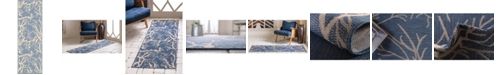 Bridgeport Home Pashio Pas6 Navy Blue 2' x 6' Runner Area Rug