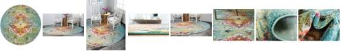 Bridgeport Home Brio Bri9 Turquoise 4' x 4' Round Area Rug