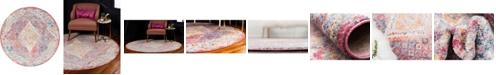 Bridgeport Home Zilla Zil1 Pink 6' x 6' Round Area Rug