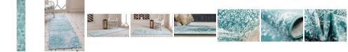 """Bridgeport Home Basha Bas7 Turquoise 3' 3"""" x 19' 8"""" Runner Area Rug"""