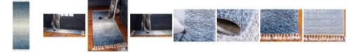 """Bridgeport Home Lochcort Shag Loc5 Blue 2' 2"""" x 6' Runner Area Rug"""