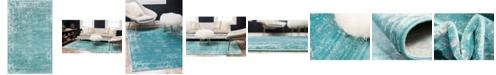"""Bridgeport Home Basha Bas1 Turquoise 3' 3"""" x 5' 3"""" Area Rug"""