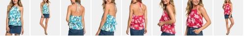 Roxy Juniors' Ruffled Floral-Print Halter Top