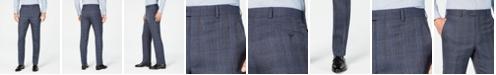 Michael Kors Men's Classic-Fit Airsoft Stretch Navy Plaid Suit Pants